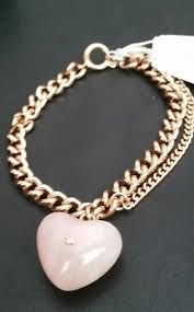rose quartz gold bracelet images Michael kors rose gold tone carved heart pink quartz charm jpg