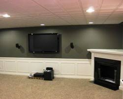 Pictures Of Finished Basements With Bars by Finished Basement With Wainscoting Custom Fireplace And Wine Bar