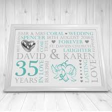 35th wedding anniversary gift personalised coral 35th wedding anniversary gift print a4 soph