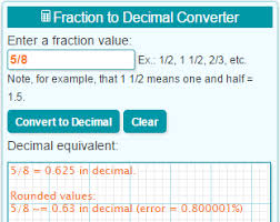Inches Fraction Table Convert 1 7 8 To Decimal