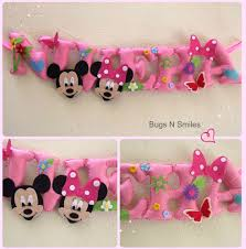 mickey mouse minnie mouse inspired pastel pink personalized felt