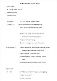 functional resume templates sle functional resume functional resume sle generalist