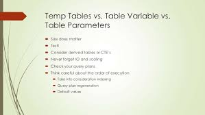 Sql Declare Temp Table Sql Server 2012 Best Practices