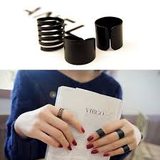 black metal rings images Womens trendy punk cool black metal 3pieces simple knuckle rings set jpg
