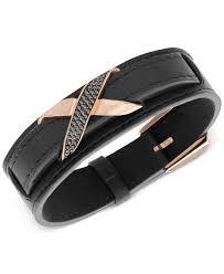 leather bracelets for men swarovski men u0027s cross rose gold tone black leather bracelet in