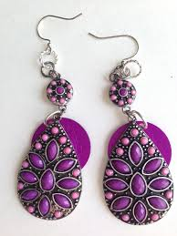 purple earrings purple and pink large dangle earrings 27 99