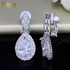 clip on earings pera big dangle drop cubic zirconia women clip on earrings