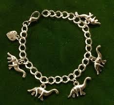 handmade silver charm bracelet images Diplodocous dinosaur charm bracelet handmade silver plated jpg