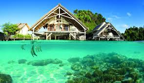 beaches lagoon blue ocean water fish polynesia marine villa