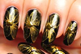 nail art black and gold design youtube