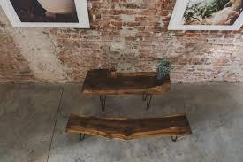 Rustic Wooden Garden Furniture Modern Live Edge Wood Bench Sevensmith