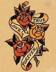 true love forever banner old roses tattoo golfian com