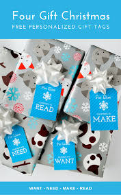 free printable four gift christmas gift tags in blue want need