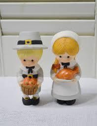 thanksgiving pilgrim statues vintage pilgrim statues ceramic boy girl pumpkin turkey autumn