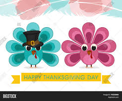 thanksgiving day celebrations cute turkey bird couple with pilgrim hat on colourful abstract