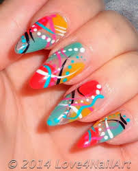 love4nailart abstract stiletto nails colors of spring