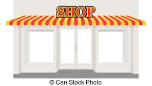 Striped Awning Eps Vector Of Store Window With Striped Awning Vector