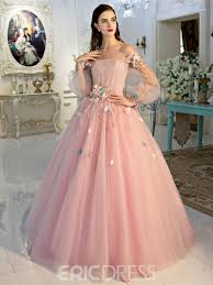 pink dresses ericdress the shoulder sleeves quinceanera dress
