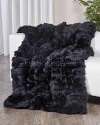 Faux Fur Throw Blanket Black Sheepskin Fur Blanket Throw Fursource Com