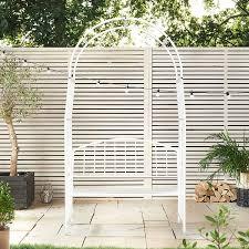 amazon com vonhaus white metal garden arbor with two seater
