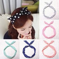 korean headband 2015 korean dots bunny rabbit ear ribbon headwear hairband