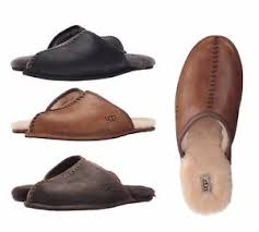 ugg slippers sale ebay ugg australia mens m scuff deco leather slipper shoes black