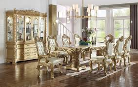 Gold Dining Room Bennito 703 Dining Table In Gold Tone By Meridian W Options