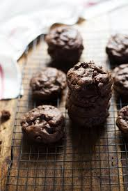 thick and fudgy double chocolate cookies recipe pinch of yum
