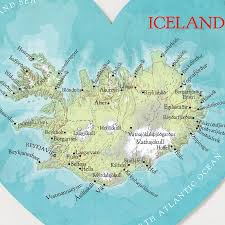 Iceland Map Location Personalised Iceland Map Heart Wedding Anniversary Gift By Bombus
