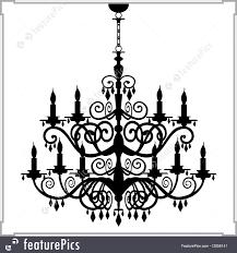 Baroque Chandelier House Living Baroque Chandelier Silhouette Stock Illustration