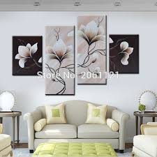 simple home decoration 4 panels group oil painting on canvas flowers black white style