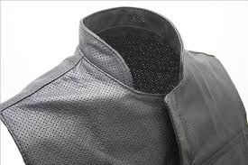 perforated leather motorcycle jacket hecho en ee uu negro cuero perforado para motociclista chaleco