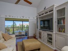 Bookshelf Entertainment Center Cottage Family Room With Ceiling Fan U0026 High Ceiling In Sarasota