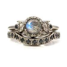Gothic Wedding Rings by Modern Gothic Engagement Ring Set Labradorite And Black Diamond