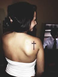 back shoulder simple cross tattoo for women tattoos and
