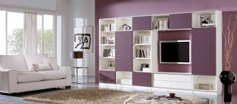 Shelving Furniture Living Room by Furniture White Purple Wooden Media Cabinets With Bookshelves And