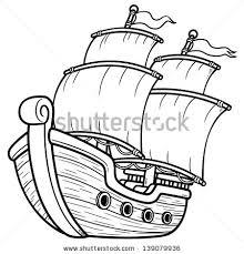vector illustration pirate ship coloring book stock vector