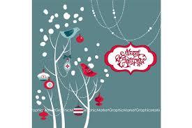 christmas clip art birds tree illustrations creative market