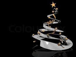 abstract 3d illustration of stylized christmas tree over black