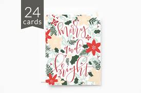bulk christmas cards christmas card set of 24 floral illustrated card set