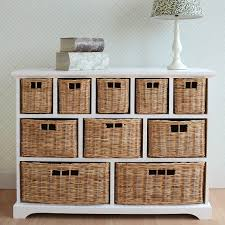 tetbury wide storage chest of drawers with wicker baskets very
