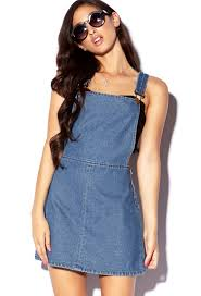 forever 21 stonewashed overall dress in blue lyst