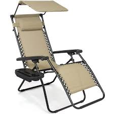 Folding Lounge Chair Indoor Folding Zero Gravity Recliner Lounge Chair With Canopy Shade