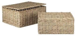 lidded seagrass storage baskets lidded wicker storage baskets