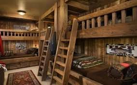 amazing log cabin ideas bedroom using wooden bunk beds with