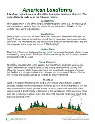 landform regions worksheets social studies and articles