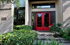 Modern Entrance Door Making A Charming Front Entrance With Crimson Front Doorways