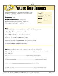 verb tense worksheets future continuous