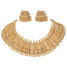 collar gold necklace images Mosell c 1950 39 s egyptian revival gold rhinestone collar necklace jpg