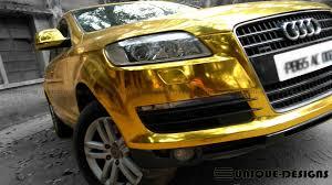Audi Q7 Matte Black - gold chrome audi q7 wrap wrapfolio